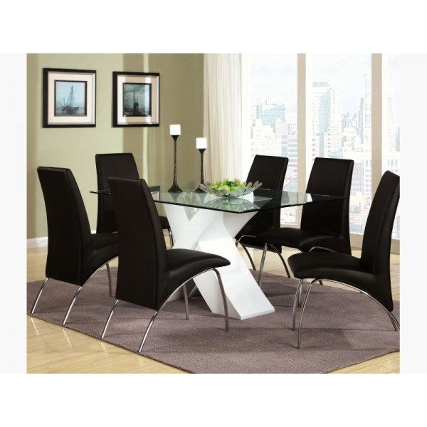 Modern 5 Piece Dining Set With Glass Top X Table