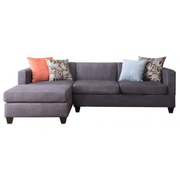 Charcoal Microfiber Reversible Chaise Sectional Sofa